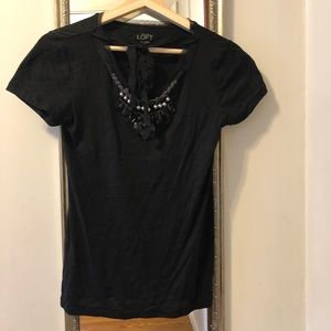 | LOFT short sleeved black top with jewels